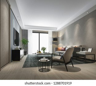 3d rendering luxury living room with marble tile and cabinet