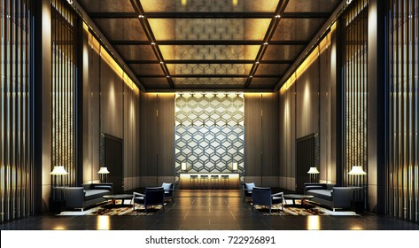 3D Rendering luxury lobby Hotel