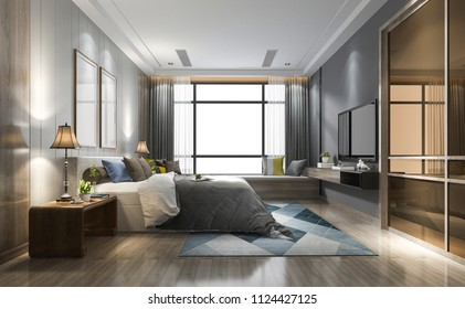 3d rendering luxury modern bedroom suite in hotel with wardrobe