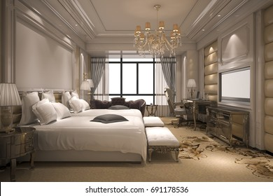 3d rendering luxury modern bedroom suite in hotel with golden decor