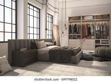 3d rendering luxury modern bedroom suite with wardrobe and walk in closet