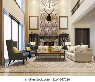 3d rendering luxury and modern classic living room with european style