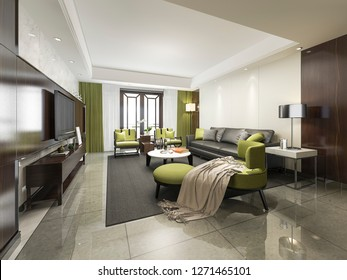 3d rendering luxury and modern green  living room with sofa