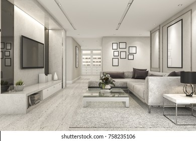 3d rendering luxury and modern living room with marble tile decor