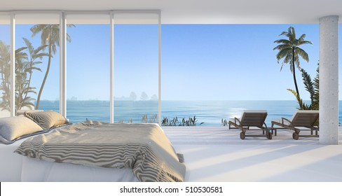 3d rendering luxury villa bedroom near beach and palm tree with beautiful morning scene from window