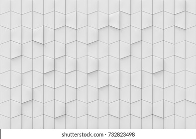 3d rendering. luxury white trapezoid square tiles wall design background