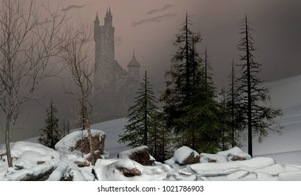 3D rendering of a magical fairy winter landscape with a castle in the background