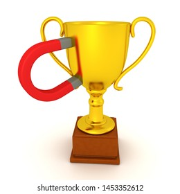 3D Rendering of magnet stuck to gold trophy. 3D Rendering isolated on white.