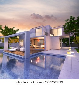 3D rendering of a magnificent modern house with pool