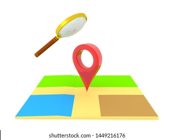 3D Rendering of magnifying glass above map and location pin. Searching for location concept. 3D Rendering isolated on white.