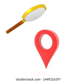 3D Rendering of magnifying glass looking at location pin. 3D Rendering isolated on white.
