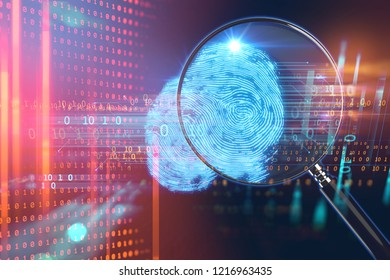 3d rendering of Magnifying Glass on digital fingerprint image, concept of cyber criminal,Biometric Authorization and Business Security Concept.