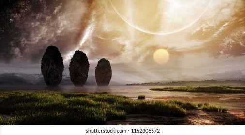3D rendering of majestic fantasy landscape with celestial sky and deep horizon