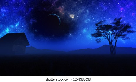 3D rendering of majestic fantasy landscape with magical night sky with moon and scary dark void region among the stars