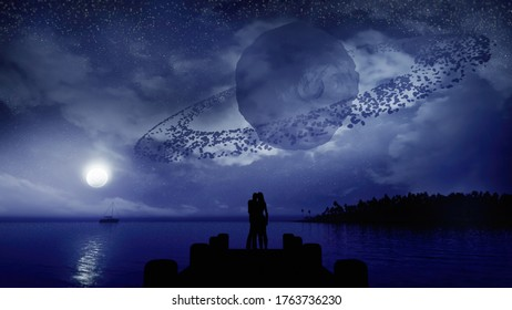 3D rendering of majestic fantasy night scene with moon and romantic couple silhouette