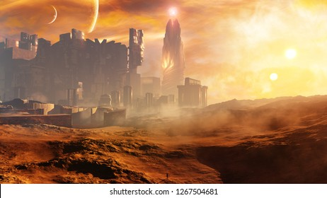 3D rendering of a majestic science fiction concept city with epic celestial sky environment during a glorious sunset