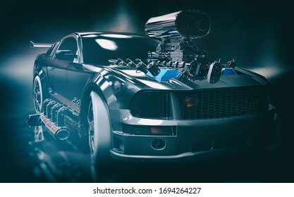 3D rendering of majestic sports car concept art in a dark and gritty environment with soft focus background