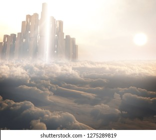 3D rendering of majestic temple city of Gods above the fantasy cloud scenery with peaceful setting sun