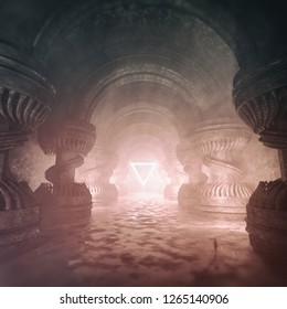 3D rendering of a majestic temple structure with gigantic columns and bright light reflecting from the wet surface