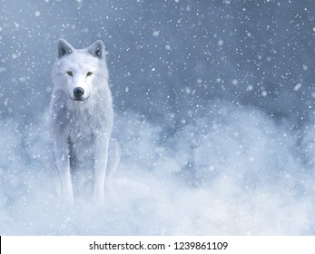 3D rendering of a majestic white wolf sitting down surrounded by magical snow.