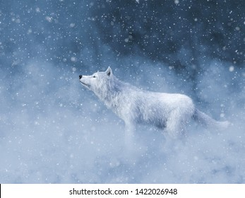 3D rendering of a majestic white wolf surrounded by magical snow.