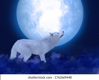 3D rendering of a majestic white wolf standing in front of a big moon. Stars in the night sky, blue fog on the ground.
