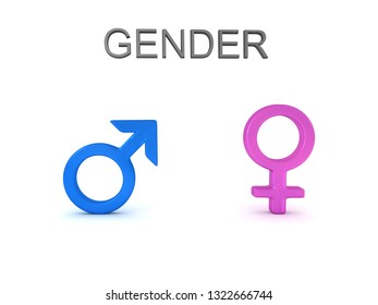 3D rendering of male and female gender signs and gender text. 3D Rendering isolated on white.