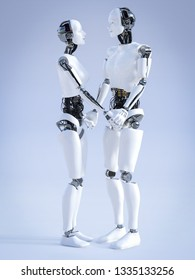 3D rendering of a male and a female robot standing facing each other and holding hands, looking at each other and smiling. Futuristic love concept.