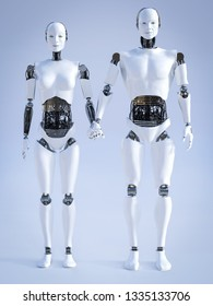 3D rendering of a male and a female robot standing beside each other and holding hands. Futuristic love concept.