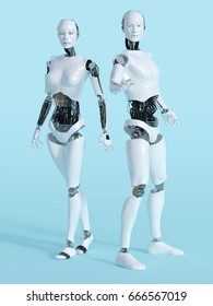 3D rendering of a male and a female robot standing and posing. Bluish background.