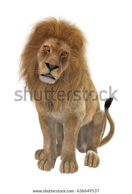 3d Rendering Male Lion Sitting Isolated Stock Illustration 636649537