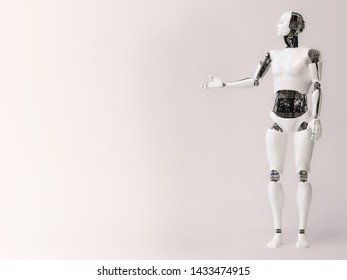 3D rendering of a male robot doing a presentation, holding his arm out like he is presenting or showing something. Gray background with copyspace for your message.