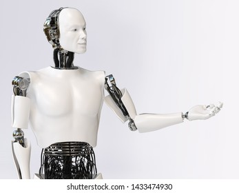 3D rendering of a male robot doing a presentation, holding his arm out like he is presenting or showing something. Light background with copyspace for your message.
