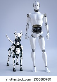 3D rendering of a male robot with a futuristic mean looking robot dog beside him.
