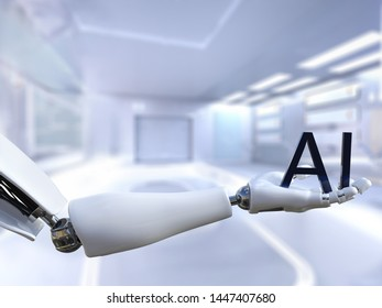 3D rendering of a male robot hand holding the text letters AI, meaning artificial intelligence technology. Futuristic concept.