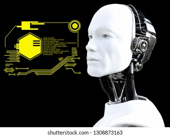 3D rendering of male robot head technology concept. Black background.