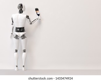 3D rendering of a male robot holding a big paint brush with black paint, ready to start writing your message on the blank wall. Light gray background with copyspace for your text.