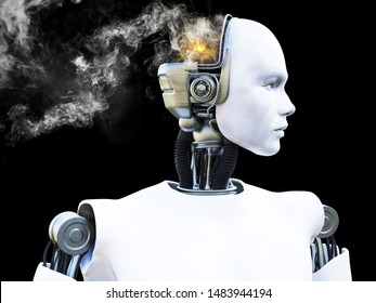 3D rendering of a male robot with smoke coming from his head like he is broken or he is having a mental breakdown. Black background.