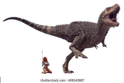 A 3D rendering of a male Tyrannosaurus Rex and a cave woman, isolated on a white background.