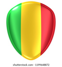 3d rendering of a Mali flag icon on white background.
