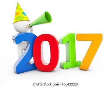 3D Rendering man  with new year 2017