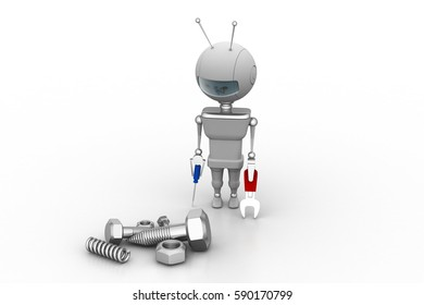 3d rendering of  man with repairing concept