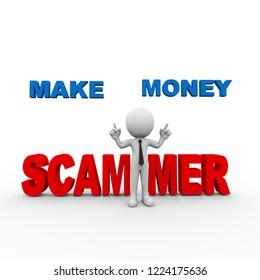 3d rendering of man scam alert online make money scammer person people man