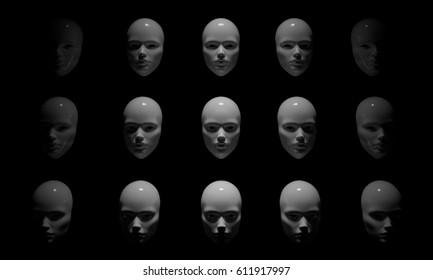 3d rendering Mannequin White Head  on black background
