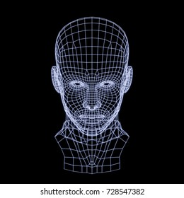 3D rendering of a man's wireframe head