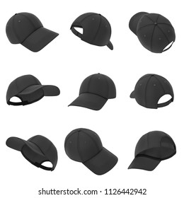 3d rendering of many black baseball caps hanging on a white background in different angles. Baseball hat. Casual headwear. Sport style.