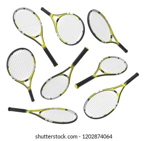 3d rendering many identical tennis racquets hanging at different angles on white background. Tennis gear. Tennis for fitness. Tennis class.