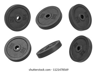 3d rendering of many isolated black 20 kg barbell weights hanging on a white background turned to different sides. Heavy weight lifting. Gym supplies. Creating new body.