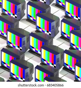 3d rendering of many isometric TVs with test image on screen. Repeated objects pattern. Retro technology on white background.