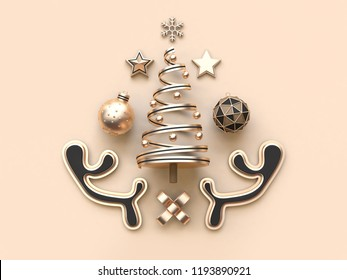 3d rendering many object christmas concept minimal soft cream background